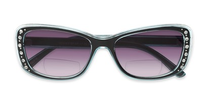 Folded of The Lorina Bifocal Reading Sunglasses in Black/Blue with Smoke