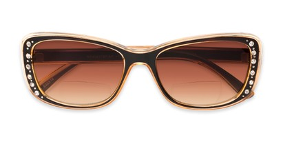 Folded of The Lorina Bifocal Reading Sunglasses in Brown/Orange with Amber