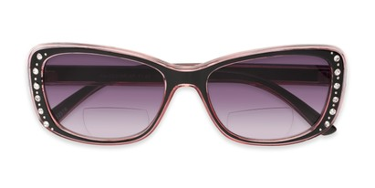 Folded of The Lorina Bifocal Reading Sunglasses in Black/Pink with Smoke