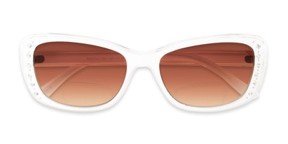 Folded of The Lorina Bifocal Reading Sunglasses in White/Clear with Amber