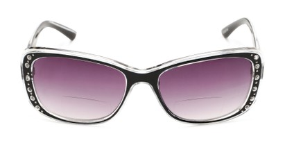 Front of The Lorina Bifocal Reading Sunglasses in Black/Clear with Smoke