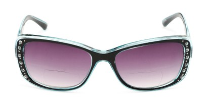 Front of The Lorina Bifocal Reading Sunglasses in Black/Blue with Smoke