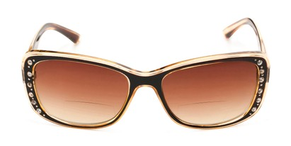 Front of The Lorina Bifocal Reading Sunglasses in Brown/Orange with Amber