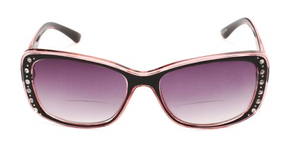 Front of The Lorina Bifocal Reading Sunglasses in Black/Pink with Smoke