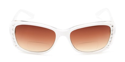 Front of The Lorina Bifocal Reading Sunglasses in White/Clear with Amber
