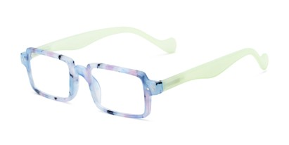 Angle of The Louisa in Blue Marble/Green, Women's Square Reading Glasses