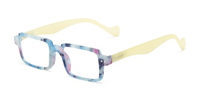 Angle of The Louisa in Blue Marble/Yellow, Women's Square Reading Glasses