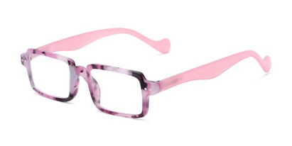 Angle of The Louisa in Purple Marble/Pink, Women's Square Reading Glasses