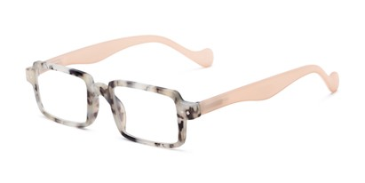 Angle of The Louisa in Brown Marble/Tan, Women's Square Reading Glasses