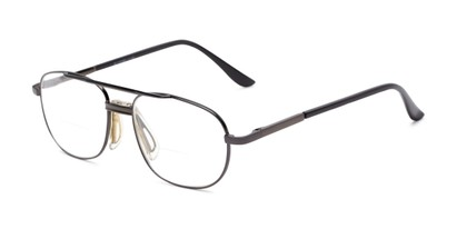 Angle of The Lubbock Bifocal in Grey, Men's Aviator Reading Glasses