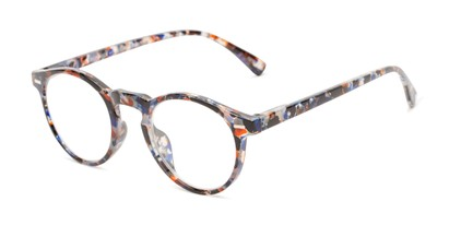 Angle of The Lysander in Red/Blue Speckled, Women's and Men's Round Reading Glasses