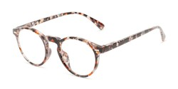 Angle of The Lysander in Grey/Brown Speckled, Women's and Men's Round Reading Glasses
