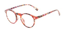 Angle of The Lysander in Red/Purple Speckled, Women's and Men's Round Reading Glasses