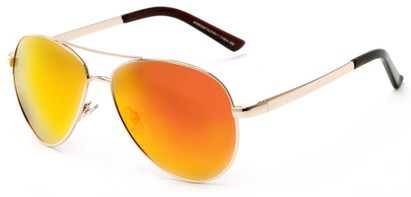 Angle of The Saddle Unmagnified Sunglasses in Gold with Orange, Women's and Men's Aviator Sunglasses