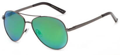 Angle of The Saddle Unmagnified Sunglasses in Grey with Green, Women's and Men's Aviator Sunglasses