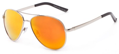 Angle of The Saddle Unmagnified Sunglasses in Silver with Orange, Women's and Men's Aviator Sunglasses