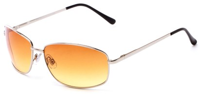 Angle of The Castor Unmagnified Sunglasses in Silver with Amber, Women's and Men's Square Sunglasses
