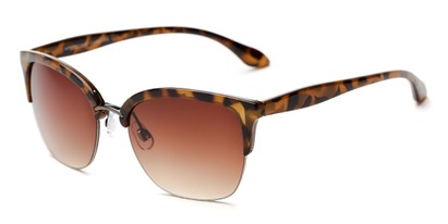 Angle of The Blondie Unmagnified Sunglasses in Tortoise with Amber, Women's Cat Eye Sunglasses