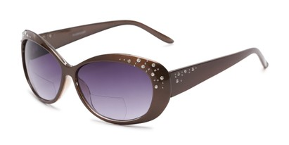 Angle of The Mable Bifocal Reading Sunglasses in Brown with Smoke, Women's Square Reading Sunglasses