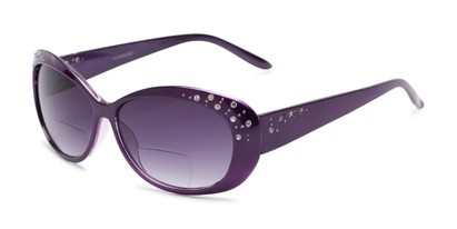 Angle of The Mable Bifocal Reading Sunglasses in Purple with Smoke, Women's Square Reading Sunglasses