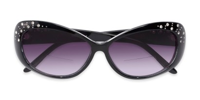 Folded of The Mable Bifocal Reading Sunglasses in Black with Smoke