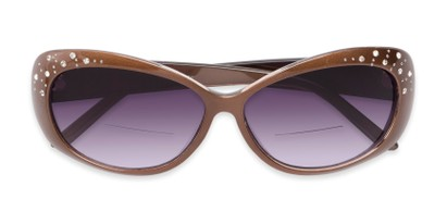 Folded of The Mable Bifocal Reading Sunglasses in Brown with Smoke