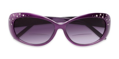 Folded of The Mable Bifocal Reading Sunglasses in Purple with Smoke