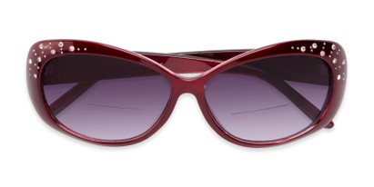 Folded of The Mable Bifocal Reading Sunglasses in Red with Smoke