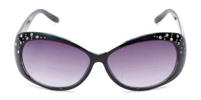 Front of The Mable Bifocal Reading Sunglasses in Black with Smoke