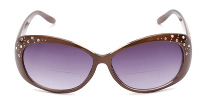 Front of The Mable Bifocal Reading Sunglasses in Brown with Smoke