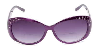 Front of The Mable Bifocal Reading Sunglasses in Purple with Smoke