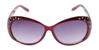 Front of The Mable Bifocal Reading Sunglasses in Red with Smoke