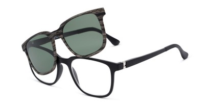 Angle of The Mack Polarized Magnetic Reading Sunglasses in Black/Grey Faux Wood with Green, Women's and Men's Retro Square Reading Sunglasses