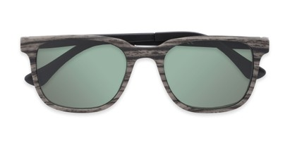 Folded of The Mack Polarized Magnetic Reading Sunglasses in Black/Grey Faux Wood with Green