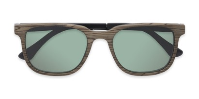 Folded of The Mack Polarized Magnetic Reading Sunglasses in Black/Tan Faux Wood with Green