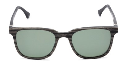 Front of The Mack Polarized Magnetic Reading Sunglasses in Black/Grey Faux Wood with Green