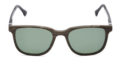 Front of The Mack Polarized Magnetic Reading Sunglasses in Black/Tan Faux Wood with Green