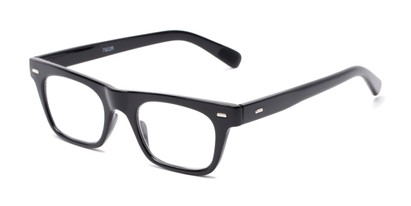 Angle of The Madden in Black, Women's and Men's Retro Square Reading Glasses