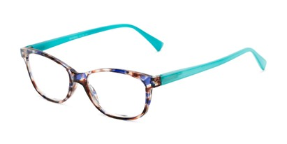 Angle of The Magda in Brown Tortoise/Blue, Women's Cat Eye Reading Glasses