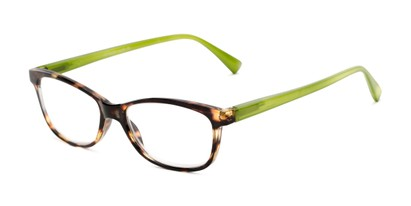 Angle of The Magda in Brown Tortoise/Green, Women's Cat Eye Reading Glasses