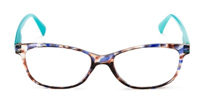 Front of The Magda in Brown Tortoise/Blue