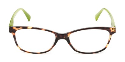 Front of The Magda in Brown Tortoise/Green
