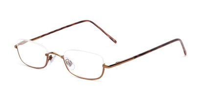 Angle of The Magnum in Glossy Bronze, Women's and Men's Rectangle Reading Glasses