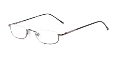 Angle of The Magnum in Glossy Grey, Women's and Men's Rectangle Reading Glasses