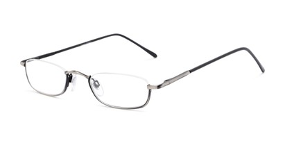 Angle of The Magnum in Matte Grey, Women's and Men's Rectangle Reading Glasses