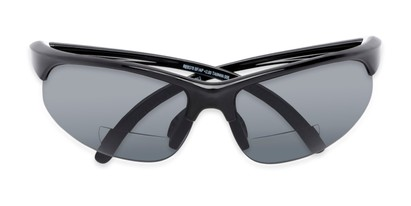 Folded of The Marathon Bifocal Reading Sunglasses in Black with Smoke Lenses