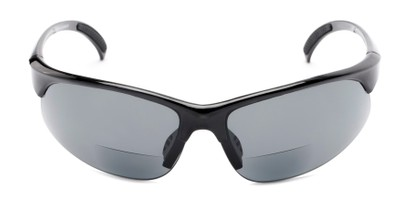 Front of The Marathon Bifocal Reading Sunglasses in Black with Smoke Lenses