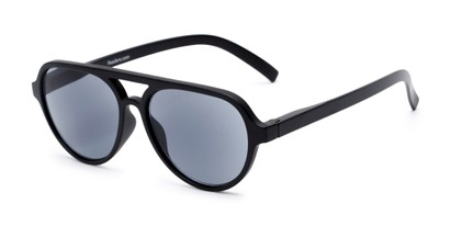 Angle of The March Reading Sunglasses in Matte Black with Smoke, Women's and Men's Aviator Reading Sunglasses