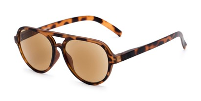 Angle of The March Reading Sunglasses in Matte Tortoise with Amber, Women's and Men's Aviator Reading Sunglasses