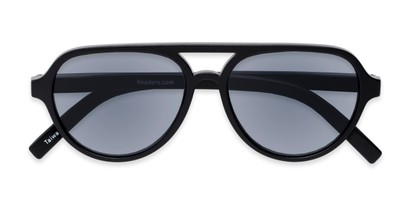 Folded of The March Reading Sunglasses in Matte Black with Smoke